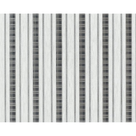 Wallpaper wall non-woven EDEM 640-96 XXL textured stripe curtain look white light grey anthracite 10.65 sqm (114 sq ft)