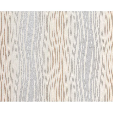 Wallpaper wall non-woven EDEM 695-91 abstract textured bended stripes cream silver grey brown 10.65 sqm (114 sq ft)