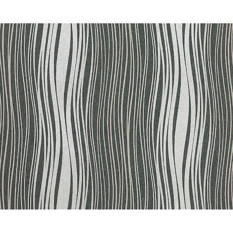 Wallpaper wall non-woven EDEM 695-96 abstract textured glitter stripes dark grey silver grey 10.65 sqm (114 sq ft)