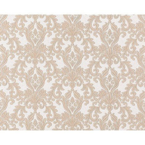 Wallpaper wall non-woven EDEM 696-93 XXL baroque damask natural white light grey cacao-brown 10.65 sqm (114 sq ft)