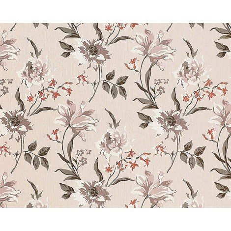 Wallpaper wall non-woven floral EDEM 900-12 embossed flower fabric look beige grey white 10.65 sqm (114 sqft)