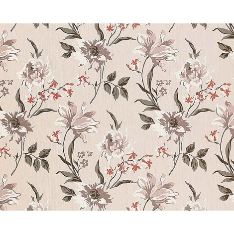 Wallpaper wall non-woven floral EDEM 900-12 luxury embossed flower fabric look beige grey white 10.65 sqm (114 sqft)