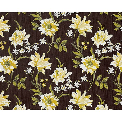 Wallpaper wall non-woven floral EDEM 900-16 luxury embossed flower fabric look brown yellow-green white 10.65 sqm (114 sqft)