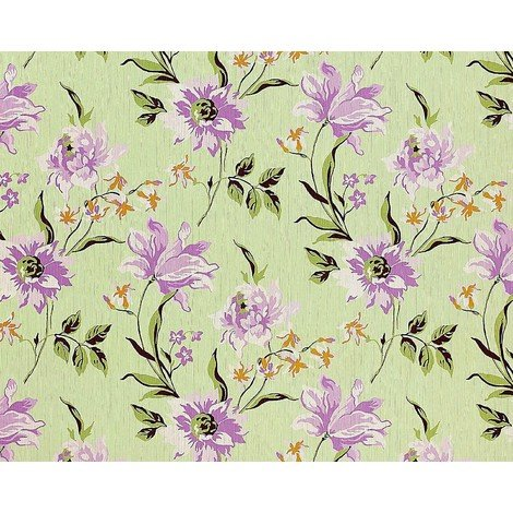 Wallpaper wall non-woven floral EDEM 900-18 embossed flower fabric look green light lilac olive 10.65 sqm (114 sqft)