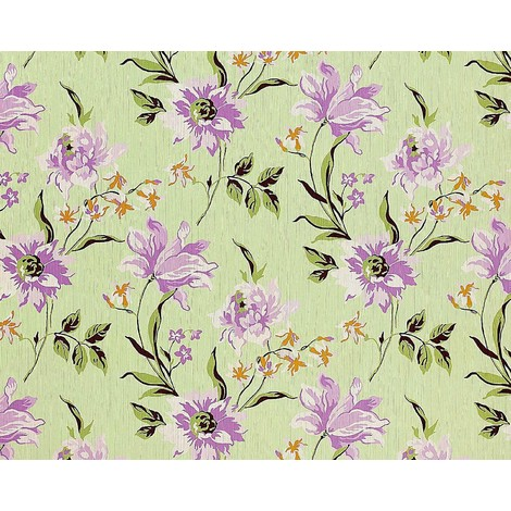 Wallpaper wall non-woven floral EDEM 900-18 luxury embossed flower fabric look green light lilac olive 10.65 sqm (114 sqft)
