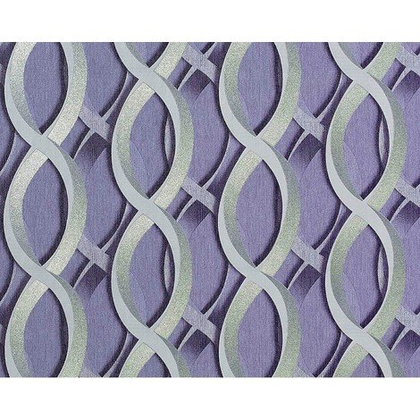 Wallpaper wall non-woven graphical 3D EDEM 601-92 chain retro pattern lilac silver grey 10.65 sqm (114 sq ft) XXL