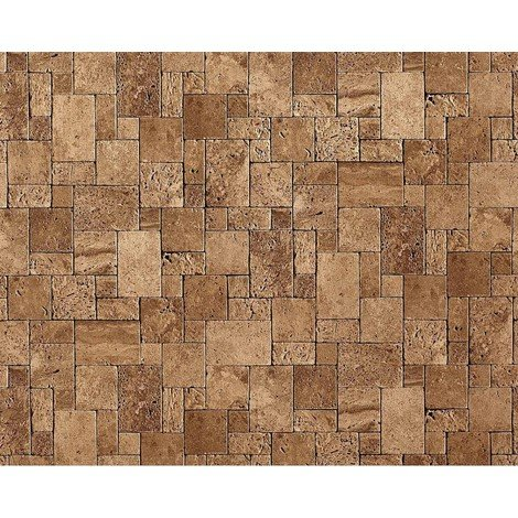 Wallpaper wall non-woven textured stone EDEM 957-23 cubes natural brick decor lava brown 10.65 sqm (114 sq ft) XXL roll