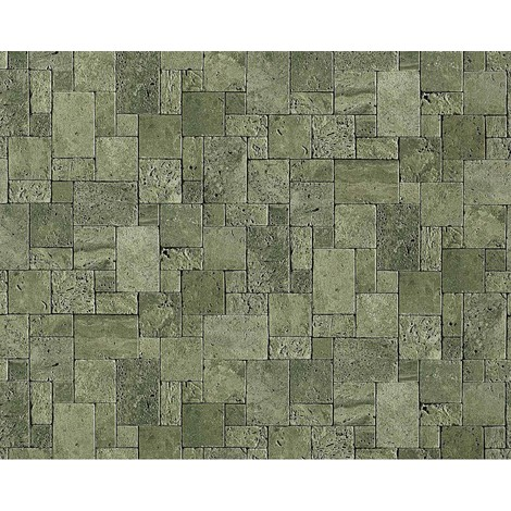 Wallpaper wall non-woven textured stone EDEM 957-28 cubes natural brick decor green-grey 10.65 sqm (114 sq ft) XXL roll