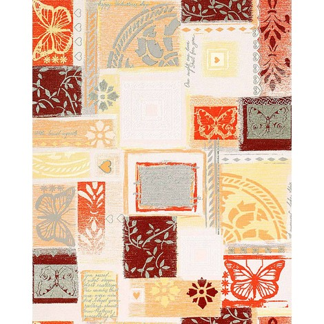 Wallpaper wall scrapbooking style EDEM 071-21 butterfly funky collage textured white orange brown 5.33 sqm (57 sq ft)