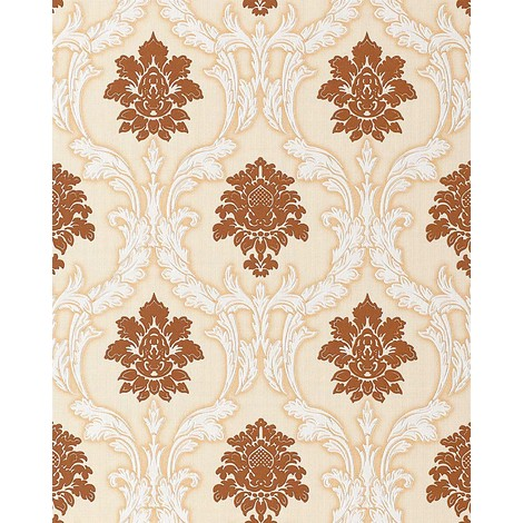 Wallpaper wall textured baroque EDEM 052-21 damask ornament vinyl wallpaper wall brown white beige 5.33 sqm (57 sq ft)