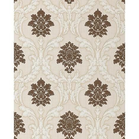 Wallpaper wall textured baroque EDEM 052-23 damask ornament vinyl wallpaper wall chocolate-brown white beige 5.33 sqm (57 sq ft)