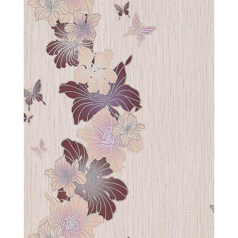 Wallpaper wall vinyl floral flowers butterfly EDEM 108-33 beige taupe caramel brown 5.33 sqm (57 sq ft)
