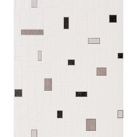 Wallpaper wall washable EDEM 584-20 vinyl modern mosaic tile decor white silver-grey black 5.33 sqm (57 sq ft)