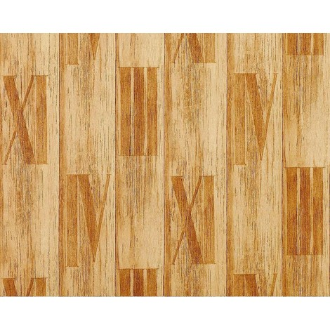 Wallpaper wall wood planks non-woven EDEM 945-21 Textured roman numbers decor yellow pine antque 10.65 sqm (114 sq ft)