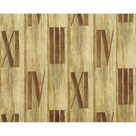Wallpaper wall wood planks non-woven EDEM 945-22 Textured roman numbers antique olive tree green 10.65 sqm (114 sq ft)