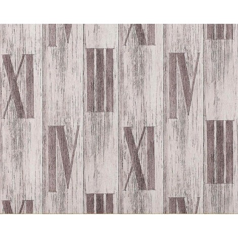 Wallpaper wall wood planks non-woven EDEM 945-24 Nature textured roman numbers oak white light grey 10.65 sqm (114 sq ft)