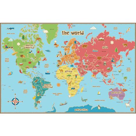 Mappa Mondo Cartina.Wallpops Cartina Geografica Del Mondo Per Bambini Autoadesiva