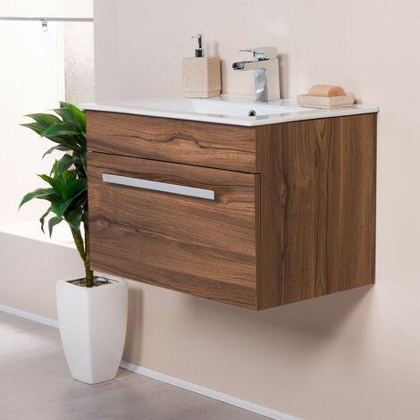 Walnut 600mm Wall Hung Vanity Sink Unit Drawer Basin Bathroom Furniture