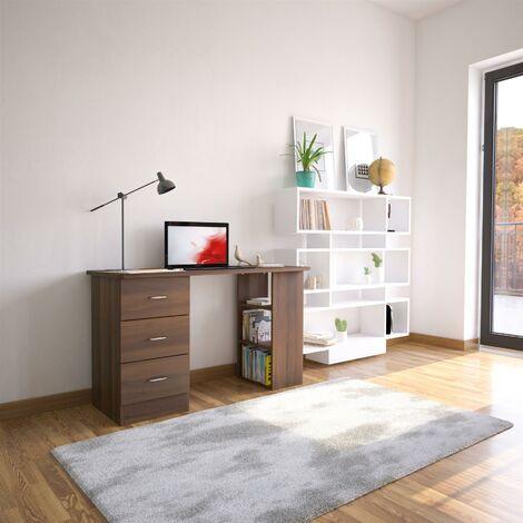 Walnut Desk with Drawers & Storage for Home Office - Piranha Furniture Guppy - Dark Walnut