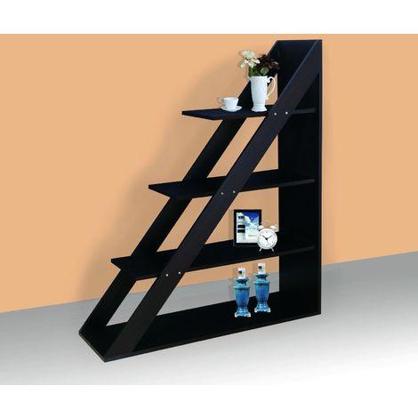 Walnut Ladder Style Bookcase 4 Tier Display Unit
