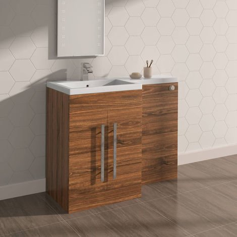 Walnut Left Hand Bathroom Furniture Wash Stands Combination Vanity Unit Set (No Toilet)
