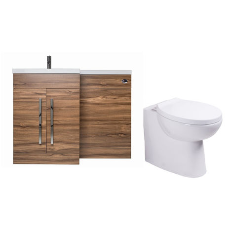 Walnut Left Hand Combination Vanity Unit basin Set & Toilet + Seat + Cistern