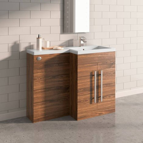 Walnut Right Hand Bathroom Furniture Wash Stands Combination Vanity Unit Set (No Toilet)