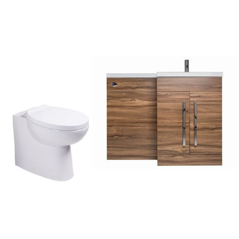 Walnut Right Hand Combination Vanity Unit basin Set & Toilet + Seat + Cistern