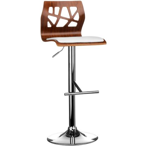Walnut Wood White Leather Effect Stylish Adjustable Bar Chair