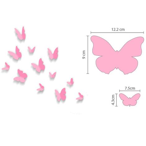 Walplus 3D Butterfly in Pink Wall Sticker