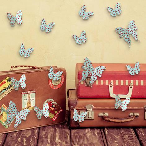 Walplus 3D Flower Dots Butterflies Wall Sticker Art