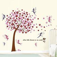 Walplus - Decorazione murale adesiva per cameretta bambini, motivo albero, fatina