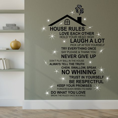 Walplus English House Rule Wall Sticker Art with Swarovski Crystals