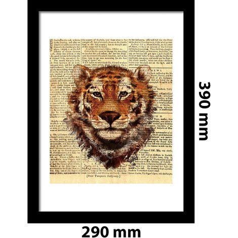 Walplus Framed Art 2in1 Tiger Newspaper Animal Poster