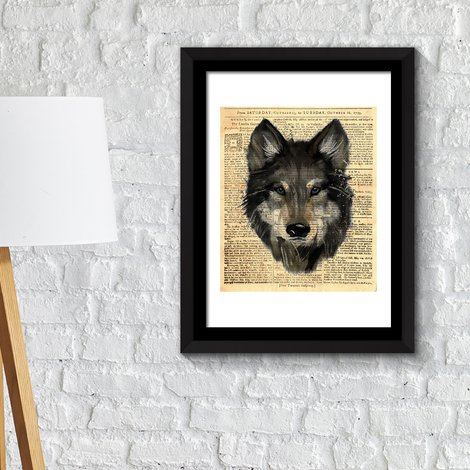 Walplus Framed Art 2in1 Wolf Newspaper Animal Poster