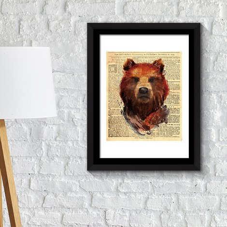 Walplus Framed Art Bear Newspaper Animal Poster Print