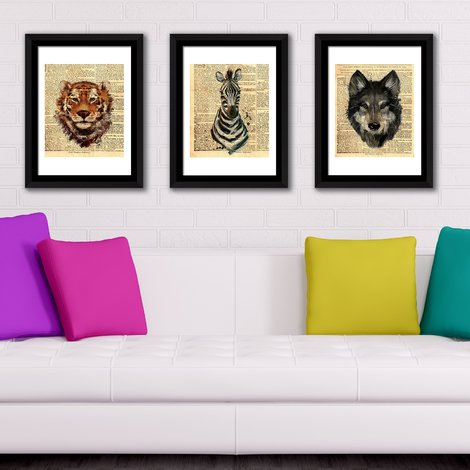 Walplus Framed Art Newspaper Tiger Zebra Wolf Wall Art for Reception Room