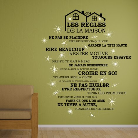 Walplus French House Rule Wall Sticker Art with Swarovski Crystals