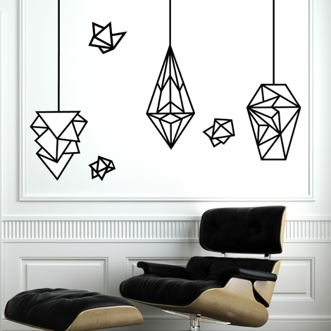 Walplus Glow In Dark Geometric Lamps Wall Sticker