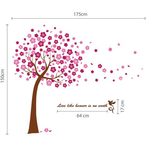 Walplus Huge Pink Cherry Blossom Flower Art Wall Sticker