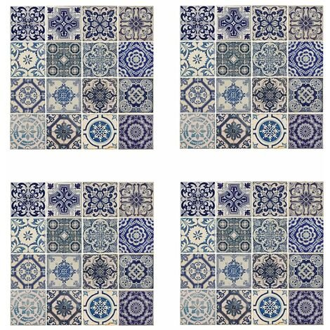 WALPLUS Mural Decoration Sticker Spanish Blue 54x54cm 4 Sheets