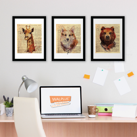 Walplus Newspaper Animals poster set No. 1