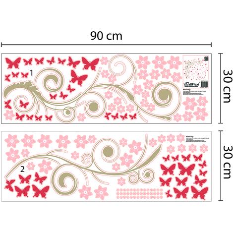 Walplus Pink Butterfly Vine Wall Sticker Art