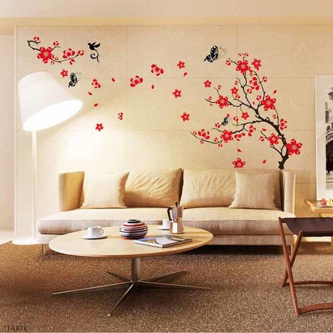 Walplus Red Blossom Flower Art Wall Sticker
