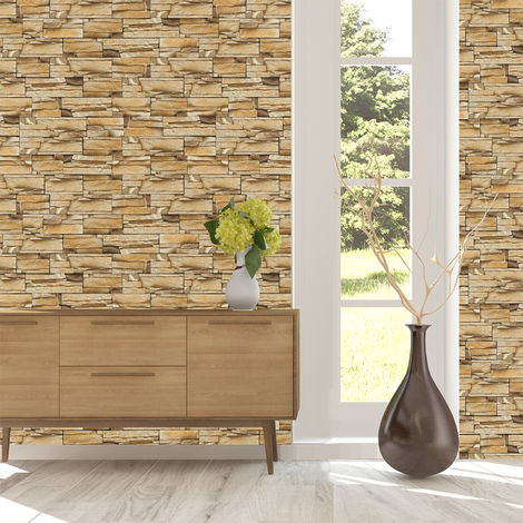 Walplus Rock Stone Pattern Wall Sticker (Pack of 12 Sheets)