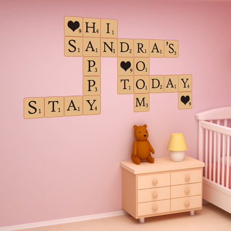 Walplus Scrabble Designed Puzzle Wall Sticker