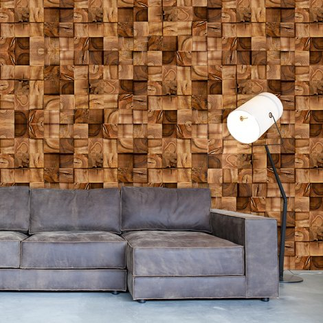 Walplus Square Timber Pattern Wall Sticker (Pack of 12 sheets)