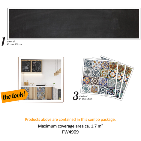 Walplus The Creative Kit: Azulejo and blackboard Self-Adhesive Decal