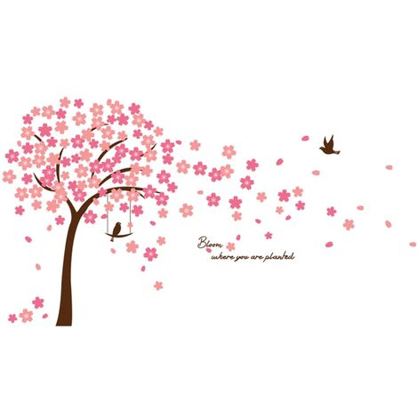 WALPLUS Vinilo decorativo cerezo en flor rosa 320x180 cm