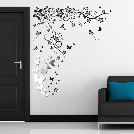Walplus Wall Decals 14 Mirror Butterflies Wall Art & Butterfly Vine